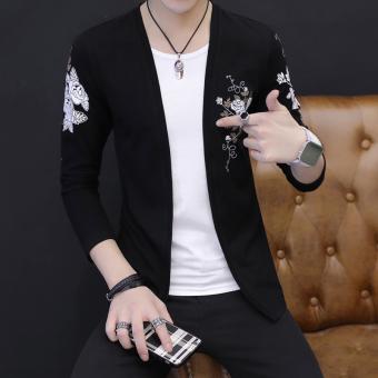 Versi Korea dari warna solid pria Slim kemeja kecil baru lengan panjang t-shirt (