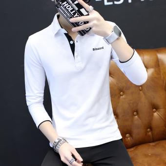 Versi Korea pria lengan panjang kemeja kerah t-shirt (Putih)