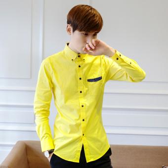 Kemeja Kemeja Korea Fashion Style Pria Lengan Panjang Slim