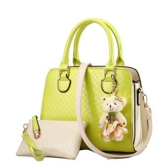 Vicria Tas Branded Wanita 2in1 - High Quality PU Leather Korean Elegant Bag Style - Hitam