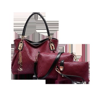 Vicria Tas Branded Wanita 3in1 Butterfly Two Tones - High Quality PU Leather Korean Elegant Bag