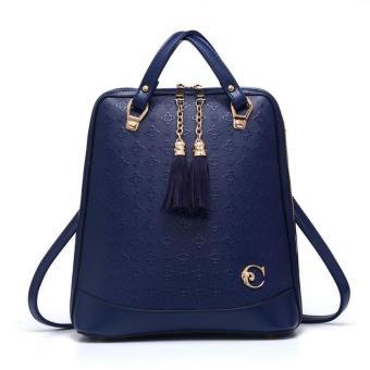 Vicria Tas Ransel Branded Wanita - Korean High Quality Bag Style With Gantungan - BLUE