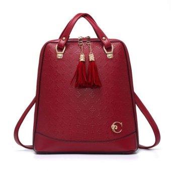 Vicria Tas Ransel Branded Wanita - Korean High Quality Bag Style With Gantungan - RED