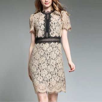 Vintage Elegent Hollow Out Lace Patchwork Short Sleeve O-Neck Bodycon Women Pencil Dress for