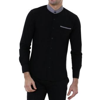 Pria Lengan Panjang Navy Slimfit / Baju Koko Navy Blue – Terlaris Terbaru .