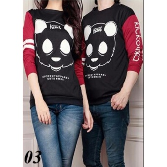 Vrichel Collection Couple Sweater Panda (Hitam Maroon)
