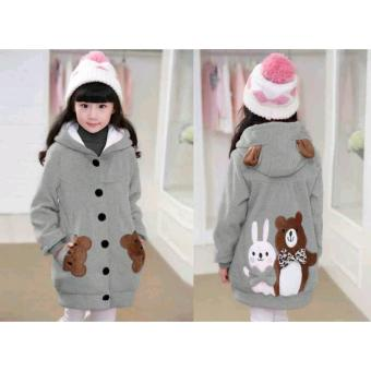 Vrichel Collection Jaket Anak Perempuan Bear & Bunny (Abu)