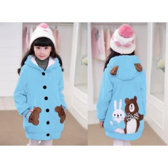 Vrichel Collection Jaket Anak Perempuan Bear & Bunny (Biru Langit)