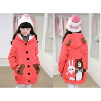 Vrichel Collection - Jaket anak perempuan Bear & bunny (peach)