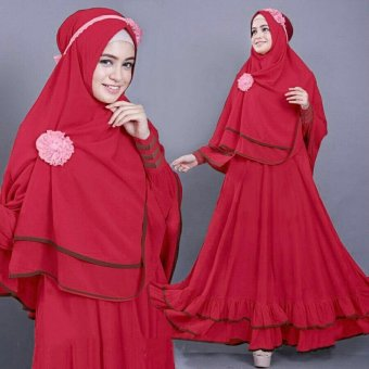 Vrichel Collection - Syari 2in1 bella (merah)