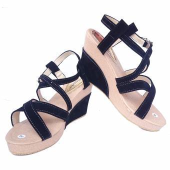Wedges Fashion Casual Suede - Black
