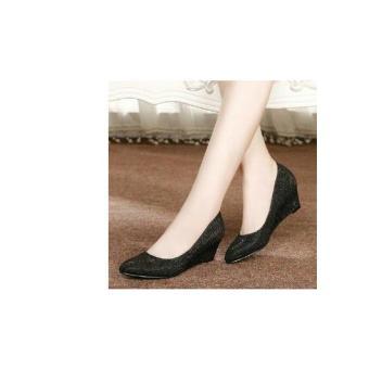Wedges Sepatu Kerja Wanita Cewek Pantofel Dubai Hitam