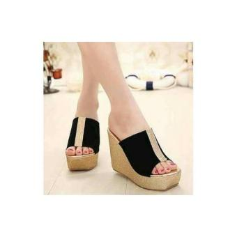 Wedges Wedge Cantik Pesta Suede Glitter Hitam Strip Gold MR13