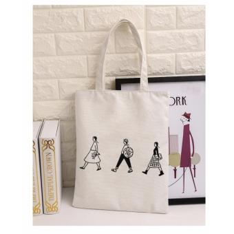 Wanita Kanvas Tote Bag Kapasitas Besar Lady Shoulder Bag Logo (Putih)-Intl 5103703bc5