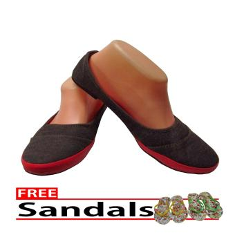 Woman Choice Flat Shoes Develop 13- Sepatu Balet - Abu-Abu Free Sandals