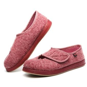 Wanita Casual Shoes Front Lubang Dalam Kain Wol Cukup Lebar Sepatu Diabetes Mudah SLIP ON Bernapas