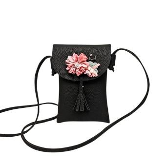 Women Applique Floral Mini Handbag Phone Bag Shoulder Bag Messenger Bag Purse - intl