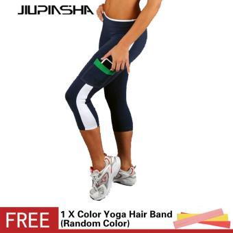 Wanita Kebugaran Celana Ketat Celana Olahraga Pengangkat Pinggul Elastis Sisi Saku Celana Berjalan Legging Senam Yoga