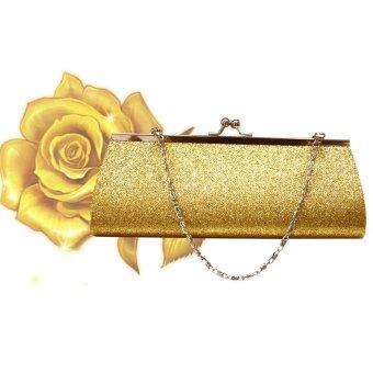 Wanita Glitter Clutch Dompet Pesta Malam Pernikahan Tas Perjamuan Tas  Bahu-Emas bb9826357a
