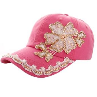 Wanita Pria Lace Denim Berlian Buatan Topi Baseball Snapback Hip Hop Flat  Hat HOT 87d44456ad