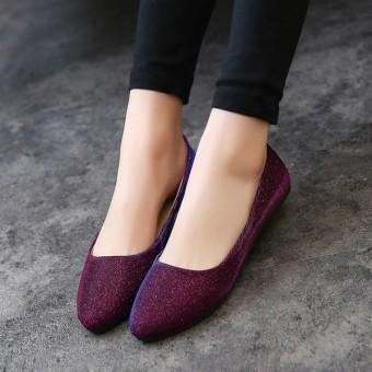 Wanita OL Slip Her At Loafers Lepas Kilap Sepatu Flat Balet Penari Balet  Warna Permen- 7b53636463