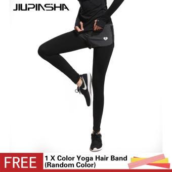 Wanita Menjalankan Celana Yoga dengan Rok Pinggang Tinggi Membentang Olahraga Kebugaran Celana Panjang Bernapas Legging-
