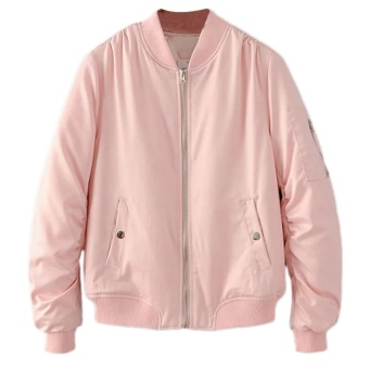 Wanita Lambang Pendek Ladies Bomber Jaket Panjang Lined With Loose Pages Hot Sale Wanita Kasual Twill-Intl