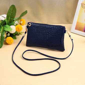Women Small Shoulder Bag PU Leather Crossbody Bag Purse Dark Blue