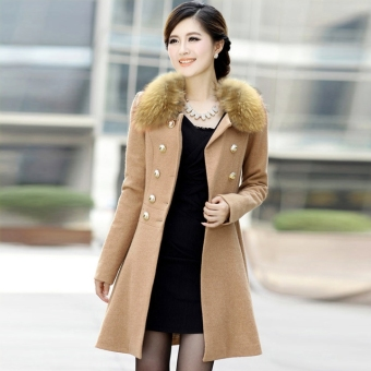 Women Woolen Winter Trench Double Button Fur Collar Coat JacketOutwear 4 Colors