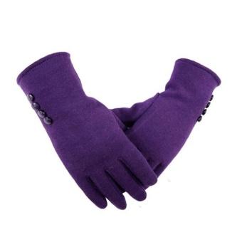 Wanita Tombol Layar Sentuh Sarung Tangan Tebal Berjajar Hangat Musim Dingin Sarung Tangan Hitam Warna: