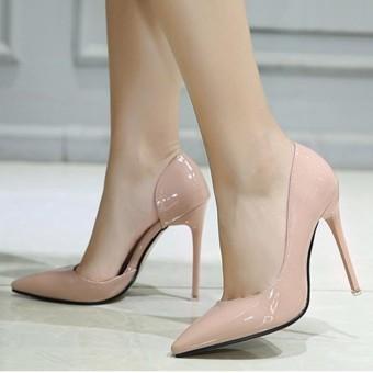 Wanita Menunjuk Toe Stiletto Open Side Sepatu London Pesta Pompa Pink-Intl