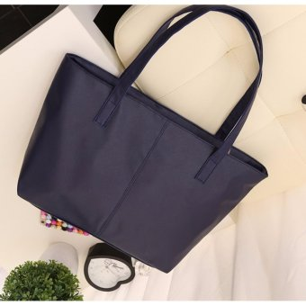 Women's Fashion PU Leather Tote Bag #99Handbags Shoulder Bags Tas Wanita Kulit - NAVY