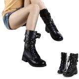 Wanita Punk Motor Biker Militer Tentara Pertempuran Datar Sepatu Bot Setumit Klasik Sepatu-Intl - 2