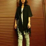 ... Syal Wanita Pashmina Kasmir Syal Selendang Sutra Padat 70 cm X 170 cm Hitam - 3 ...