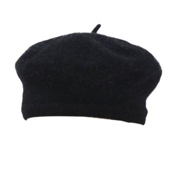 Womens Winter Solid Warm Wool Beret French Artist Beanie Hat Black