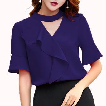 Xavier blouse trendy casual Navy Blouse Lengan panjang   blus jumbo   blus  big size   3a5c05ea77