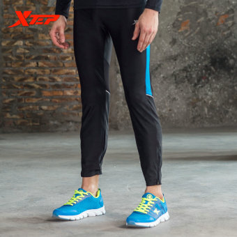XTEP Mens Tight Sport Pants Ankle Length Compression Base Layer Marathon Running Pants Gym Outfit Cycling Trousers (Black/Blue) - intl