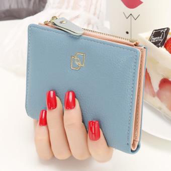 YADAS Korea Fashion Style perempuan tipis ritsleting kecil dompet wanita dompet (Biru)