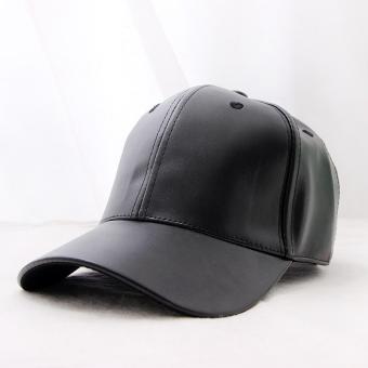 Yamamoto Jepang kulit warna solid perempuan topi bisbol topi topi (Hitam)