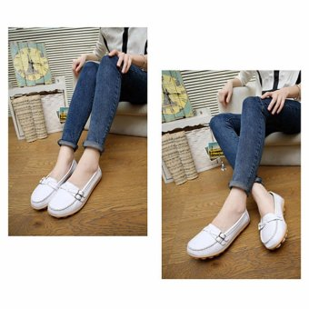 YingWei Women's Leather Beanie Soft Loafers Flat Shoes Mother'sCasual Shoes (White) - intl