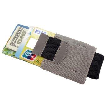 Yixiangqing Slim Kredit ID Card Holder Elastis Minimalis Dompet Kartu Pemegang Abu-abu
