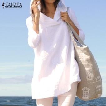 ZANZEA Atasan Wanita Musim Gugur Santai Longgar Hooded Blusas Lengan Panjang Vintage Solid Cotton Panjang Blus