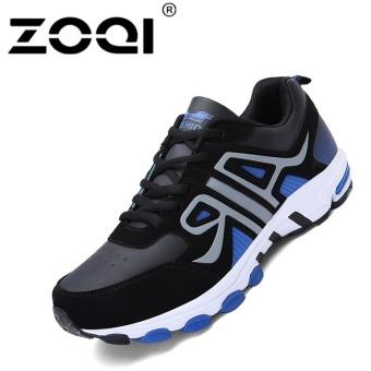 ZOQI Pria Outdoor Sport Shoes Berkualitas Tinggi Olahraga Sneakers Besar Ukuran (hitam & Biru)