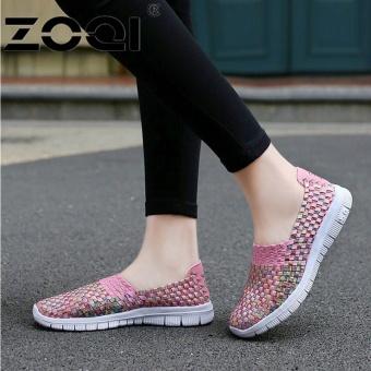 ZOQI Wanita Sepatu Santai Bernapas Handmade Woven Sepatu Nyaman Ringan  Datar Sepatu (Merah Muda)-Intl ... 095a99662d
