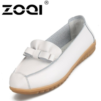 ZOQI Women's Soft Leather Bow-knot Casual Shoes Flat Single Shoes Slip-ons Loafers(White) - intl