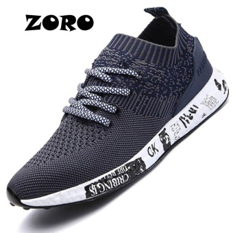 ZORO Pria 2017 Light Running Shoes Tekstil Bernapas Sneakers English. Olahraga Sepatu Ukuran 37-45 (NAVY Biru)