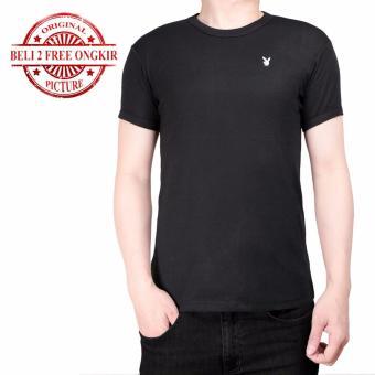 Zos - Kaos Polos Atasan Pria T-Shirt Slimfit Pendek O Neck - PLBY Hitam