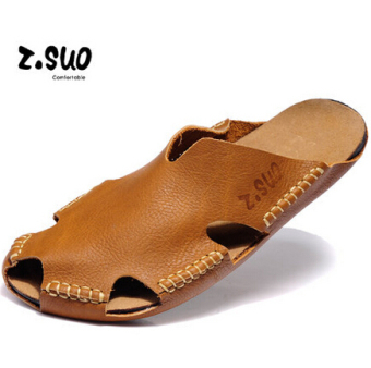 Z.Suo Karakter Kulit Laki-laki Pakaian Luar Sandal Jepit Baotou Sendal (  Model 7a654f23c7