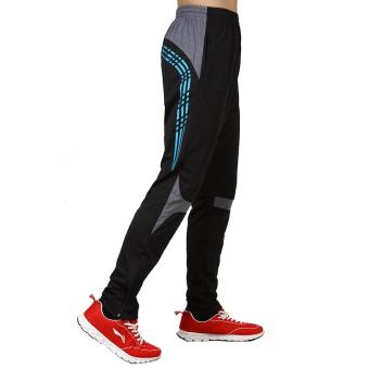 ZUNCLE Pria Sports Training Pants Elastis Stripes Celana (Biru)