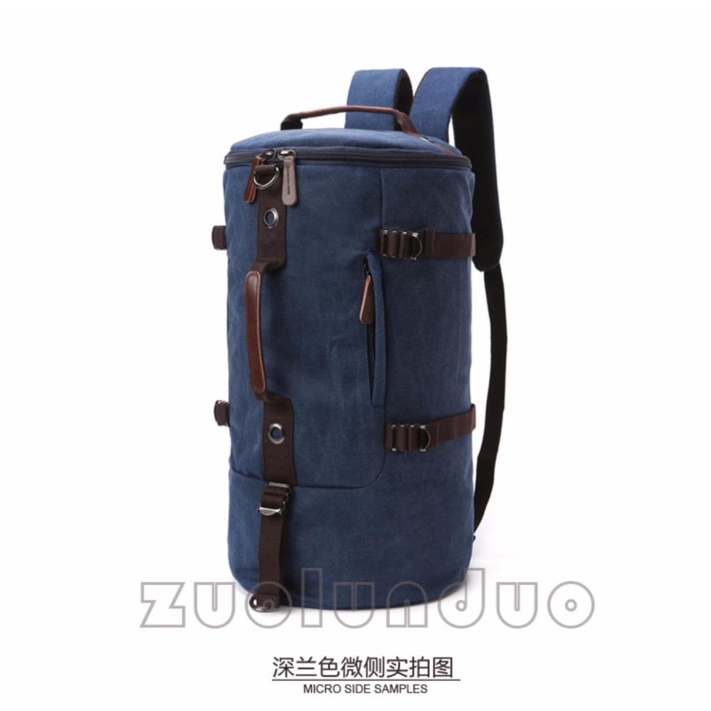 Shock Price Zuo Lun Duo Tas ransel tabung Tas selempang kanvas Tas tenteng multifungsi [Biru